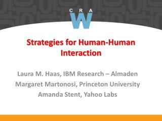 Strategies for Human-Human Interaction
