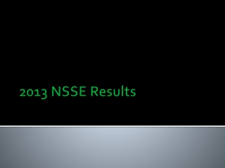 2013 NSSE Results
