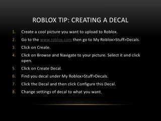 Roblox Tip : Creating a decal