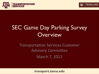 SEC Game Day Parking Survey Overview
