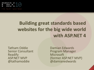 Building great standards based websites for the big wide world with ASP.NET 4