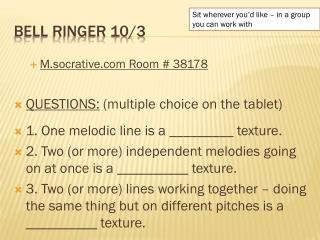 Bell Ringer 10/3