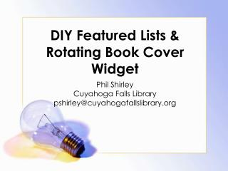 DIY Featured Lists & Rotating Book Cover Widget