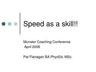 Speed as a skill!!