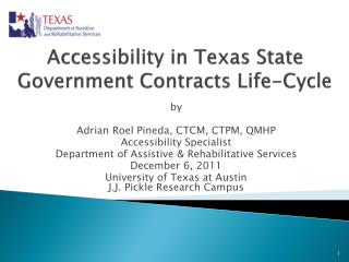 Accessibility in Texas State Government Contracts Life-Cycle