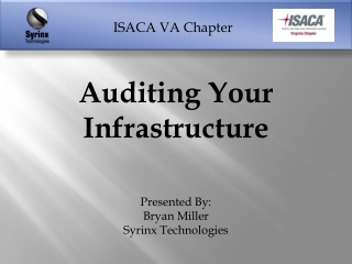 Auditing Your Infrastructure Presented By:   Bryan Miller Syrinx Technologies