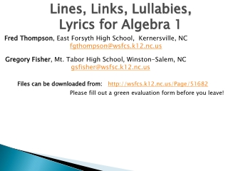 Lines, Links, Lullabies, Lyrics for Algebra 1