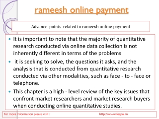Easy method of rameesh online payment