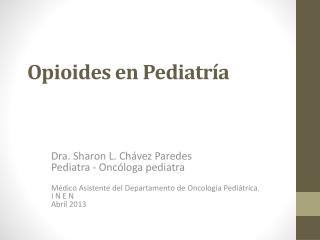 Opioides en Pediatría