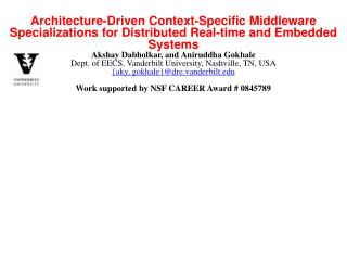 Architecture-Driven Context-Specific Middleware Specializations for Distributed Real-time and Embedded Systems Akshay D
