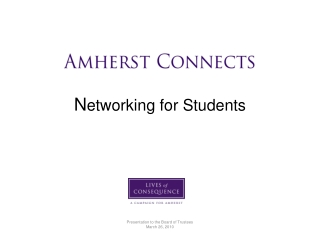 Amherst Connects N etworking for Students