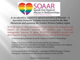 Lesbian Domestic Violence Greater Western Sydney A Presentation by the SOAAR Network