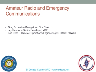 Amateur Radio and Emergency Communications