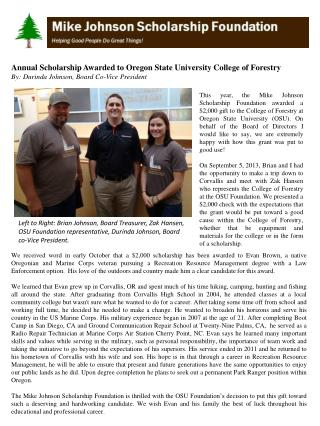 Annual Scholarship Awarded to  Oregon State University College  of  Forestry   By: Durinda Johnson, Board  Co- Vice Pre