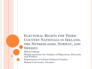 Electoral Rights for Third Country Nationals in Ireland, the Netherlands, Norway, and Sweden