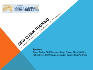 New CLERK TRAINING