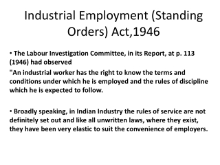 Industrial Employment (Standing Orders) Act,1946