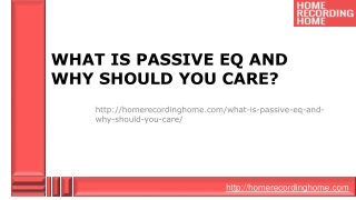 What is Passive EQ and Why Should You Care?