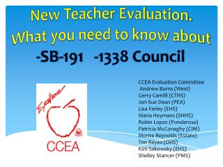 New Teacher Evaluation. What you need to know about