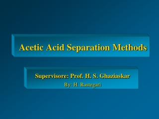 Acetic Acid Separation Methods