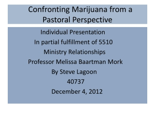 Confronting Marijuana from a Pastoral Perspective