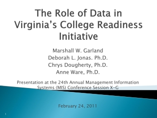 The Role of Data in Virginia's College Readiness Initiative