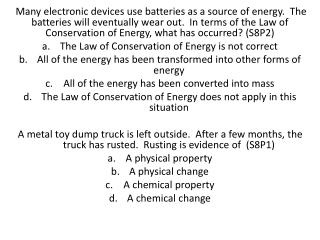 Which type of energy is occurring in the above picture? (S8P2) Mechanical to electrical energy Mechanical to solar ener