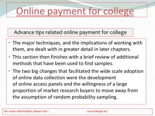 Significance Of Online payment for college