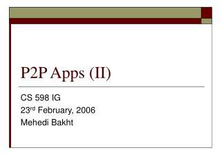 p2p apps ii