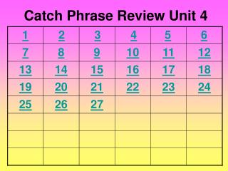 Catch Phrase  Review Unit  4