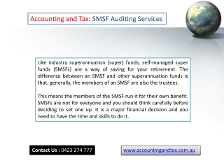 Smsf Auditing Services in Melbourne