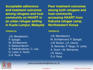 Acceptable adherence and treatment outcomes among refugees and host community on HAART in an urban refugee setting in K