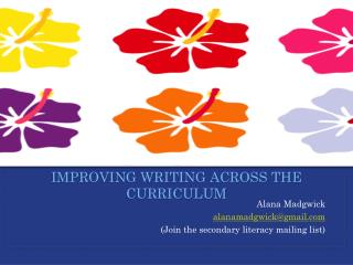 Improving writing across the curriculum