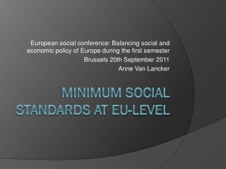 Minimum social standards at EU-level