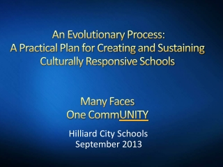 An Evolutionary Process:  A Practical Plan for Creating and Sustaining Culturally Responsive Schools Many Faces One Co