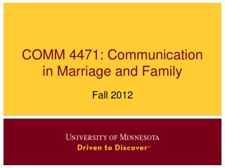 COMM 4471: Communication in Marriage and Family