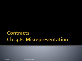 Contracts Ch. 3.E. Misrepresentation