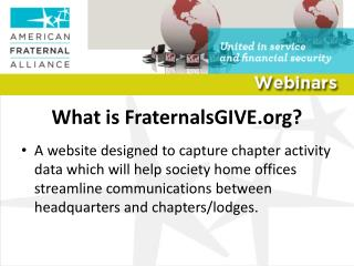 What is FraternalsGIVE.org?