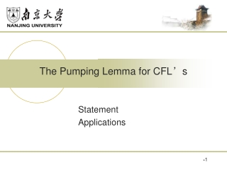 The Pumping Lemma for CFL ' s