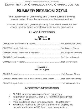 Central Connecticut State University Department  of Criminology and Criminal Justice