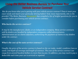 Using the Better Business Bureau to Purchase Your Vehicle Se
