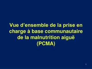 Vue d'ensemble de la prise en charge à base communautaire de la malnutrition  aigu ë  (PCMA)