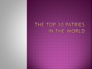 The  top 10  patries  in  the world
