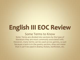 English III EOC Review