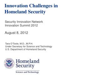 Innovation Challenges in Homeland Security