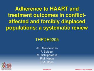 Adherence to HAART and treatment outcomes in conflict-affected and forcibly displaced populations: a systematic review