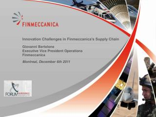 Innovation Challenges in Finmeccanica's Supply Chain