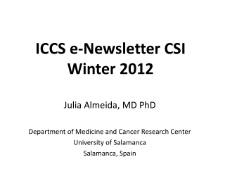 ICCS e-Newsletter CSI  Winter  2012