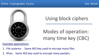 Modes of operation: many time key (CBC)