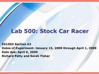 Lab 500: Stock Car Racer